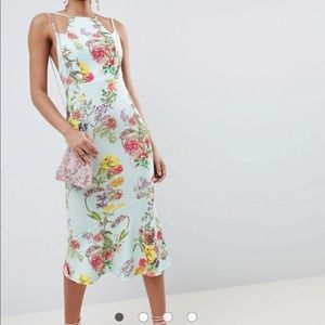ASOS double strap floral midi bodycon pephem dress